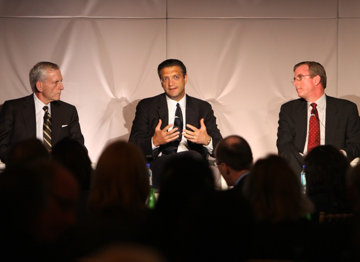 Chief executive officers Wesley R. Card, Emanuel Chirico and Eric Wiseman at the  roundtable discussion.