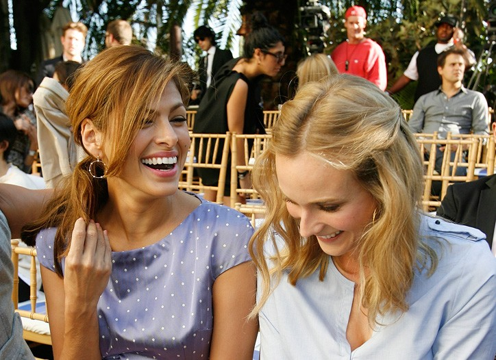 Eva Mendes in Dior with Diane Kruger.