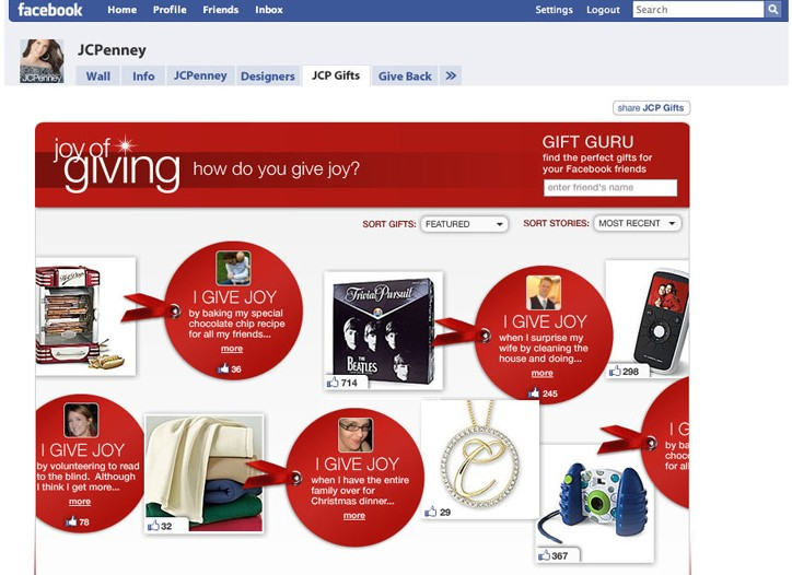 J.C. Penney's holiday reach extends to new media such as a JCP Gifts network on Facebook. Here, a Facebook preview.