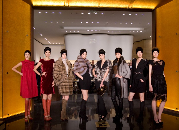 The runway show at the opening of the Fendi Asia Flagship store in Plaza 66, Shanghai, China.