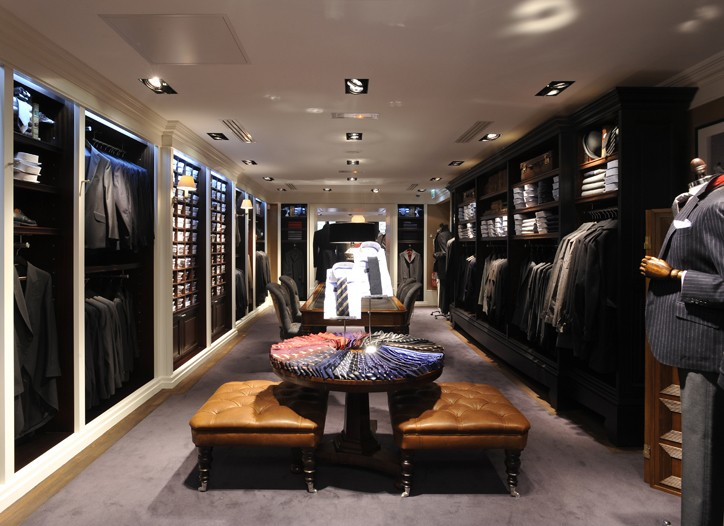 An interior view of the new Hackett store.