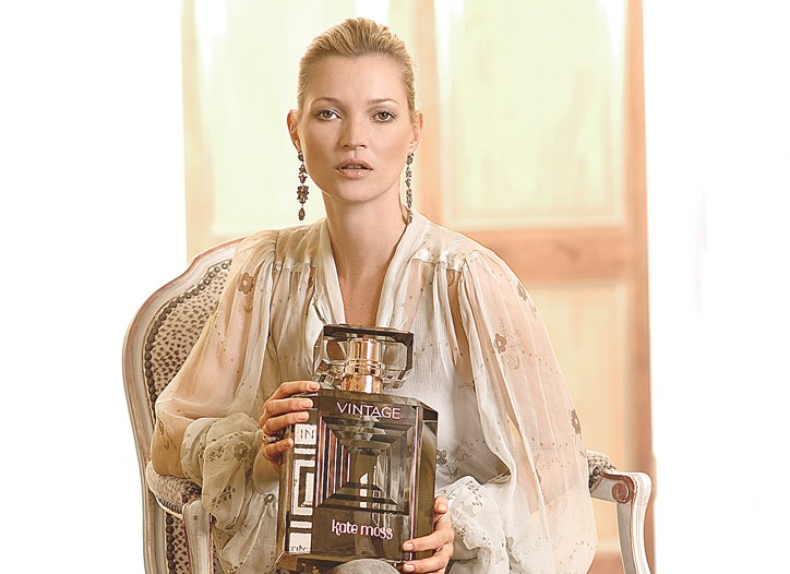 Kate Moss with Vintage, her latest scent.