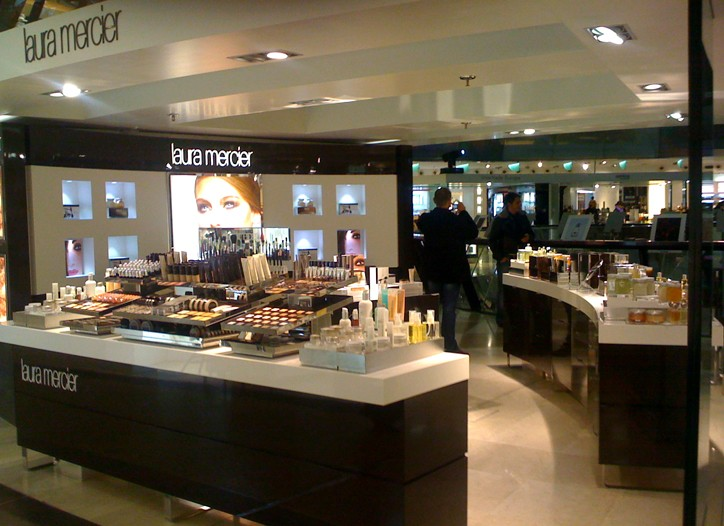 The first Laura Mercier counter in Germany, at Berlin's Galeries Lafayette.