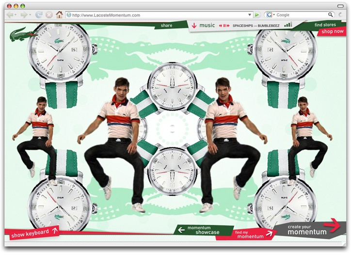 The new Lacoste site allows users to create music videos.