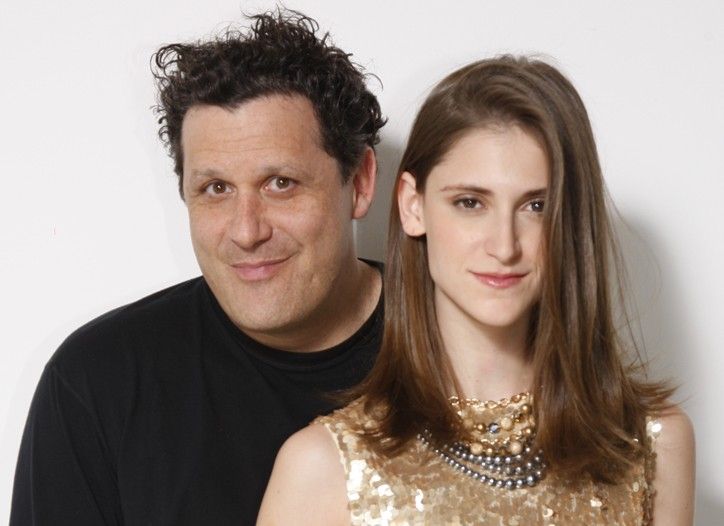 Isaac Mizrahi with a model wearing his Gold paillette tank, price not available; silk pants, $140.