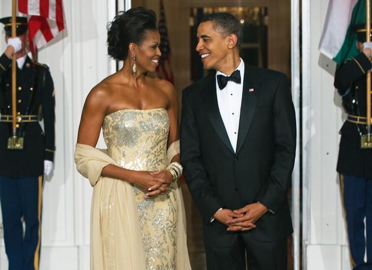 Michelle Obama in Naeem Khan with President Barack Obama