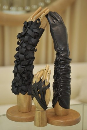 Gloves on display at Perrin's new boutique.
