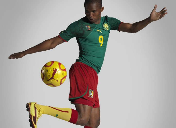 Cameroon's Samuel Eto'o in Puma's new kit for the 2010 African Cup of Nations.
