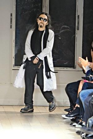 Yohji Yamamoto in his showroom.