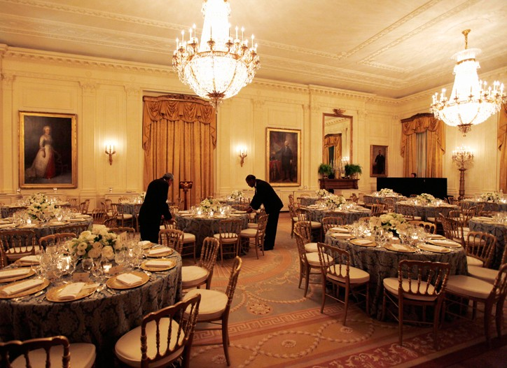 White House staff readies the East Room for a party of Presidential proportions.
