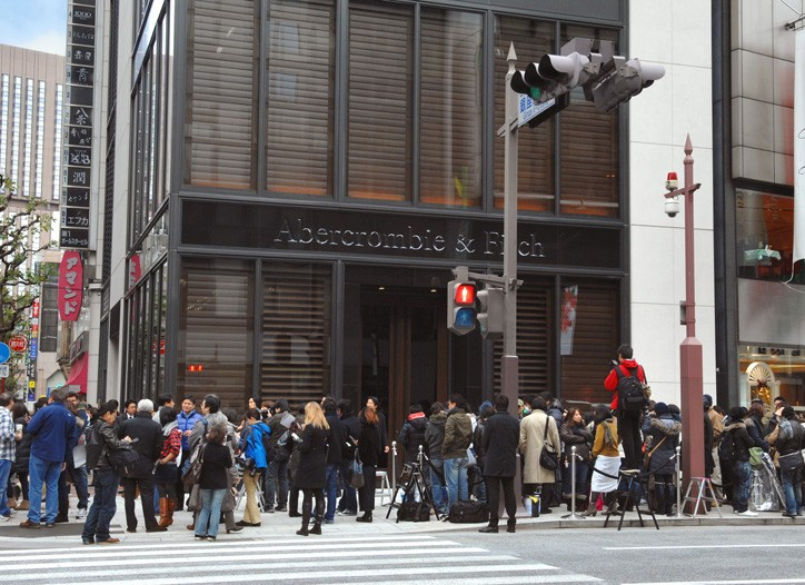 Shoppers wait on line for entry at the Abercrombie & Fitch in Tokyo.