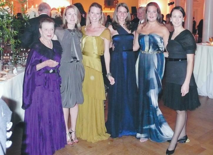 From left: Selma Wight Beard, June Weltner Lehman, Margaret Spurlin Hanes, Caroline Virgin Smith, Allison Beard Luzier, Rebecca Cherry Hammad, all in Bibhu Mohapatra.