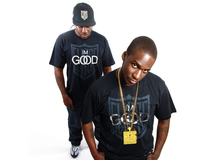 Clipse's Malice (wearinggold chain) and Pusha in the T-shirt.
