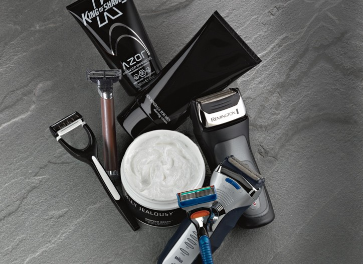 King of Shaves Azor Advanced Shaving Gel, Giorgio Armani Skin Minerals for Men, Remington F-5790 Pivot & Flex Foil Shaver, Braun Series 3 390Smooth and Adaptable, Gillette Fusion MVP and Billy Jealousy Whipped Cream.