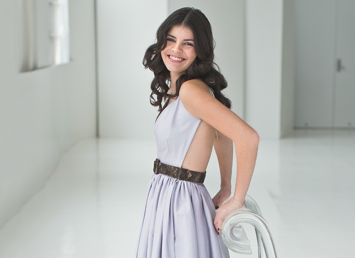 Canadian teen singer Nikki Yanofsky pairs her youthful yet sophisticated style with a smooth sound on her album, to be released in March. Here, she works her girly side in Contrarian's cotton dress and L.A.M.B. shoes.