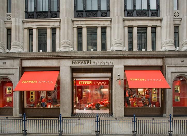 Exterior of the Ferrari store.