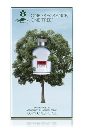 "The Hugo Boss special ""One Fragrance, One Tree"" edition of Hugo Man."