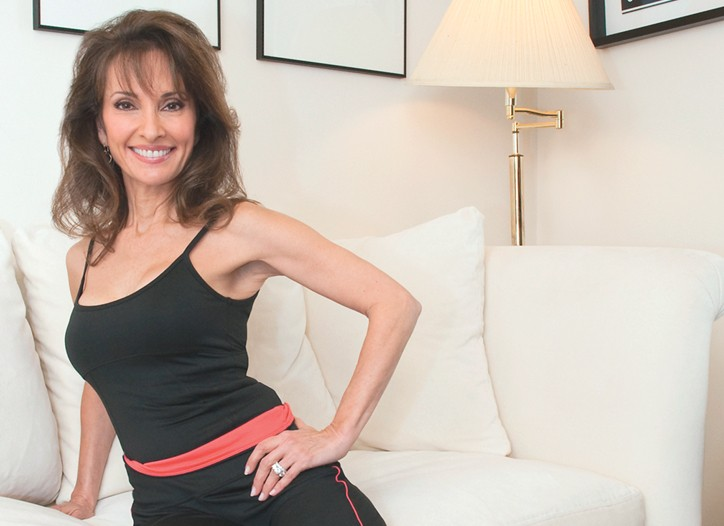 Susan Lucci models her new Pilates apparel collection by Fila.