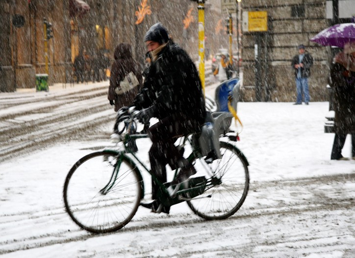 Most of Northern Italy was blanketed with up to 10 inches of snow.