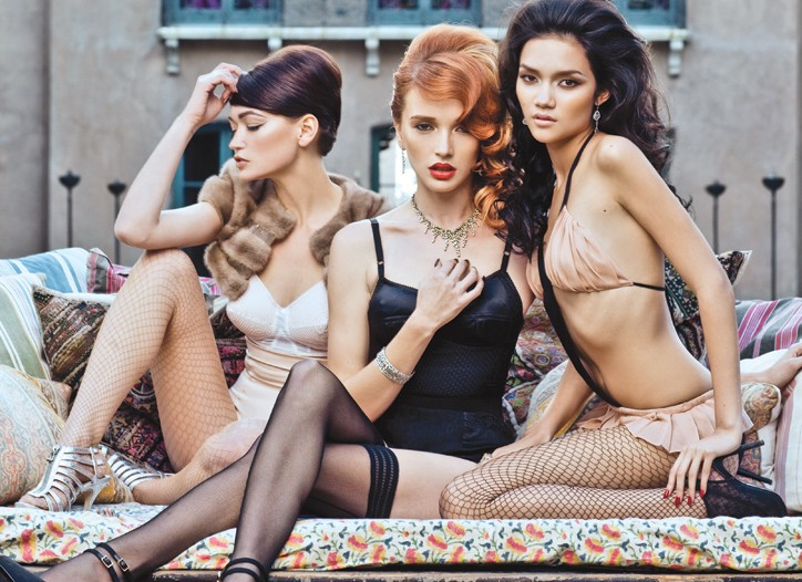 Inspired by the characters Carla, Claudia and Luisa, respectively: Jean Paul Gaultier's bra and Victoria's Secret's underwear. Dolce & Gabbana's silk bodysuit. Kiki de Montparnasse's stretch jersey and silk chiffon monokini.
