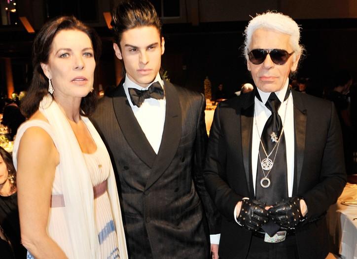 Princess Caroline, Baptiste Giabiconi and Karl Lagerfeld