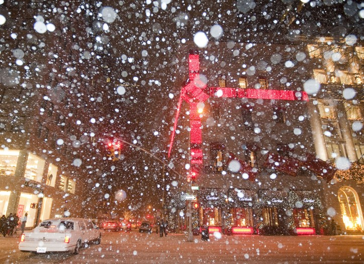 Snowfall up to 16 inches fell in New York.
