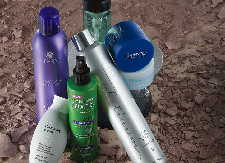 Redken Body Full Instant Bodifier, Phyto Professional Fiber Paste, Aveda Light Elements, Kenra Platinum Sheer Holding Spray, Garnier Fructis Style Full Control Hairspray, Living Proof Full Thickening Cream and Alterna Caviar Hold Hair Spray.
