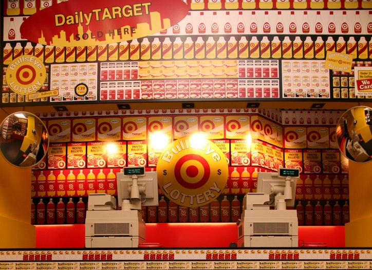 The Bullseye Bodega on 57th Street and Sixth Avenue displays products in supermarket style.