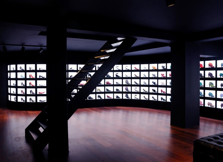 The Wall of Light in the new United Nude store in Amsterdam.