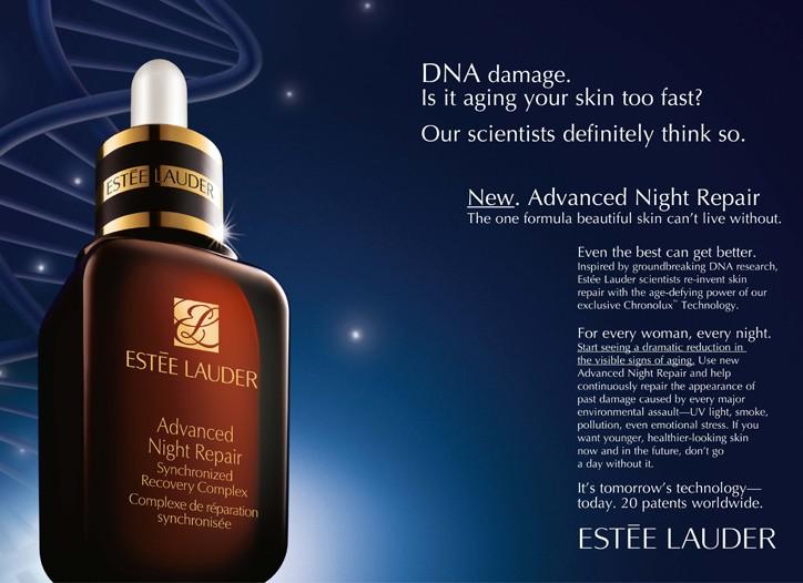 An ad for Estée Lauder Advanced Night Care Repair.