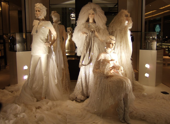 Displays of couture at Chanel's Ginza flagship store in Tokyo.