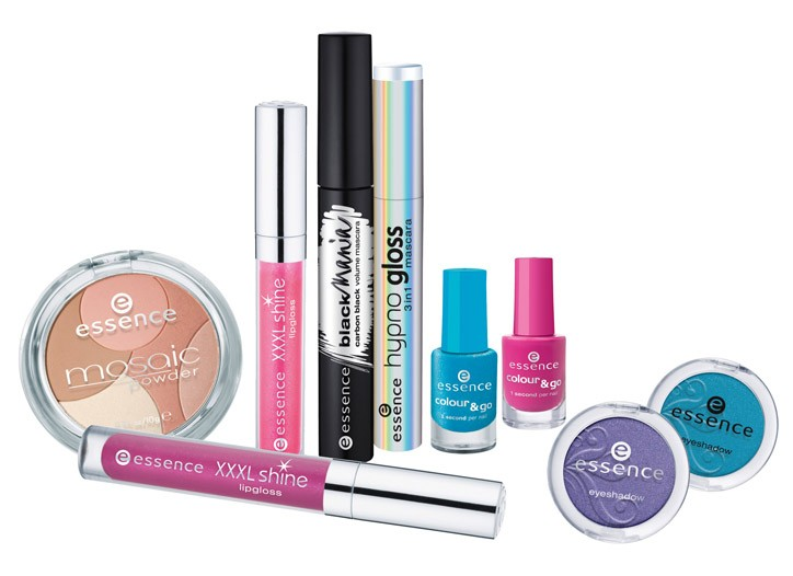 A selection of Essence cosmetics.