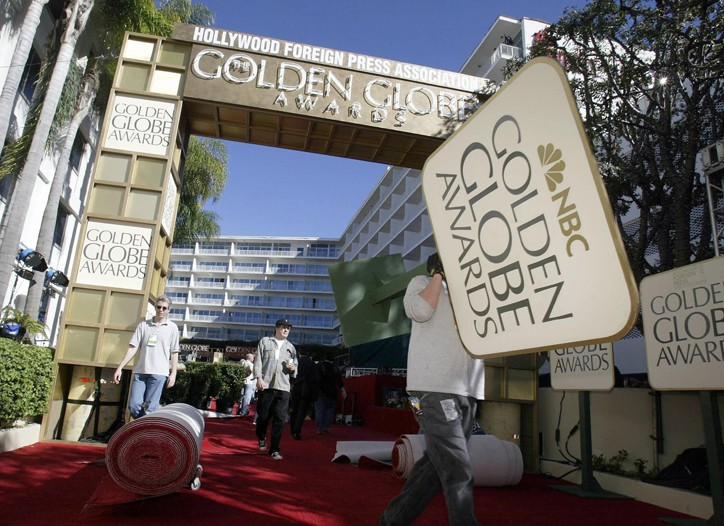 A crew readies for the Golden Globe Awards.