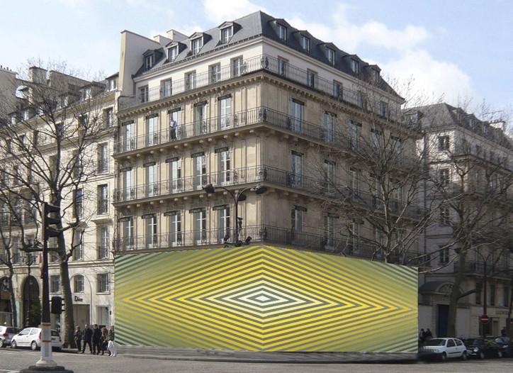 David Malek installation covering the façade of Cerruti's flagship in Paris.