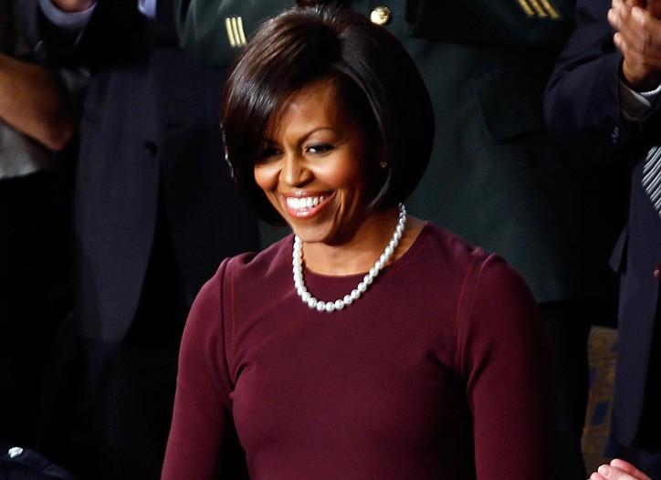 Michelle Obama wearing an Isaac Mizrahi dress.