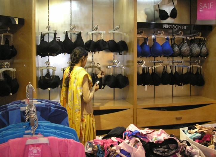 A display of sexy La Senza bras in Pakistan.