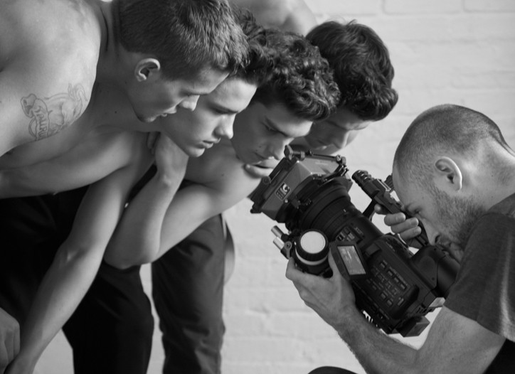 A behind-the-scenes image of the Bruce Weber short film for YSL.