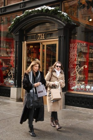 Holiday shoppers on Fifth Avenue.