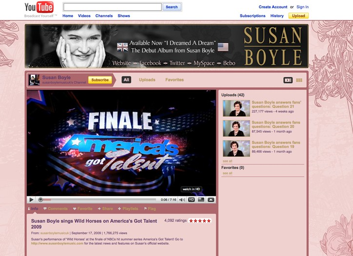 Susan Boyle YouTube channel