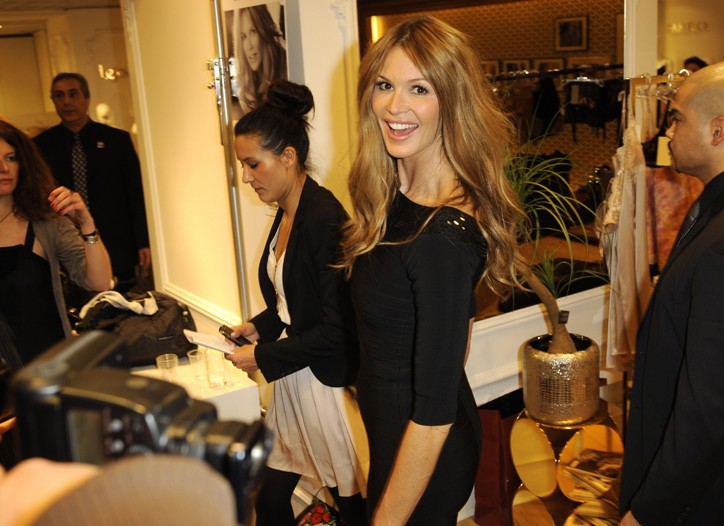 Elle Macpherson at the inauguration of her shop-in-shop in Printemps.