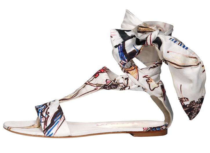 Bruno Frisoni silk sandal.