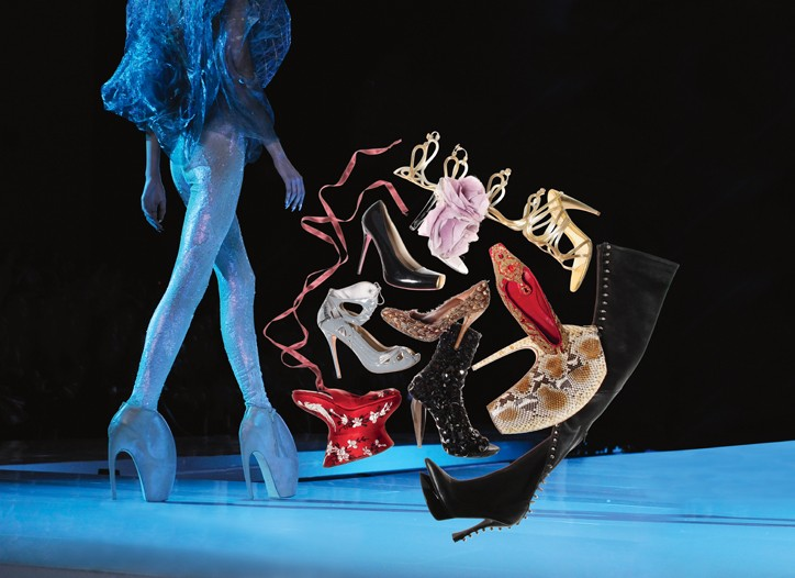 Alexander McQueen Armadillo shoes on the runway and a selection of Alexander McQueen's shoes from 2007 to 2010.
