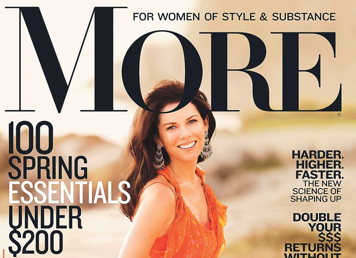 "Lauren Graham on the cover of the March issue of More magazine which will introduce a new logo and the tag line, ""For Women of Style & Substance."""