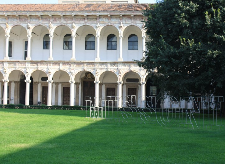 The cloister at Milan University where the Missoni show is being held.