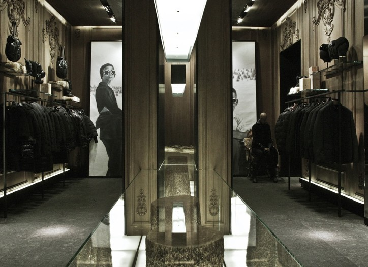 Victoria Beckham in Moncler and a look inside the Moncler boutique in Milan.