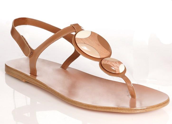 Pedro Garcia wood and kid leather sandal.