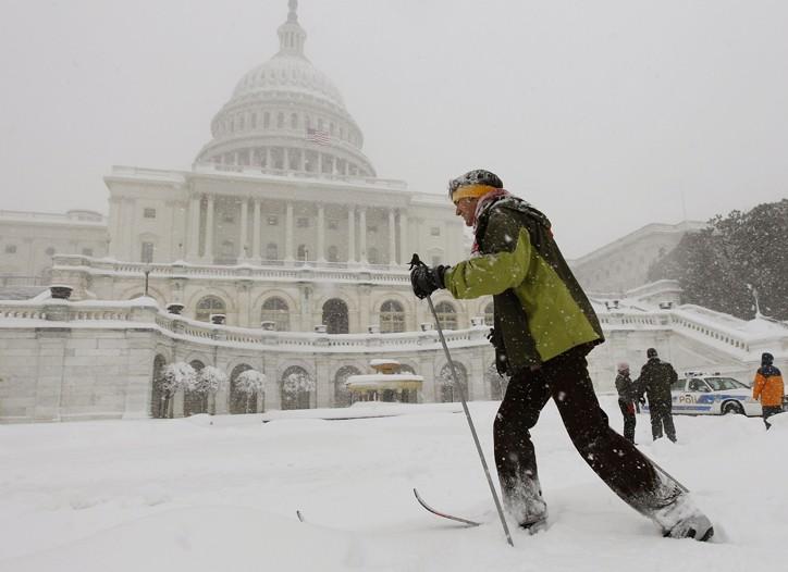 Alternate transportation in snowy Washington.