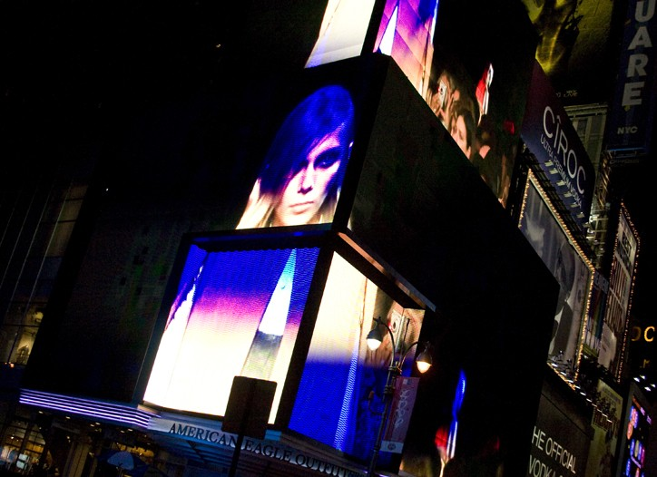 Alexander Wang's billboard in Times Square.