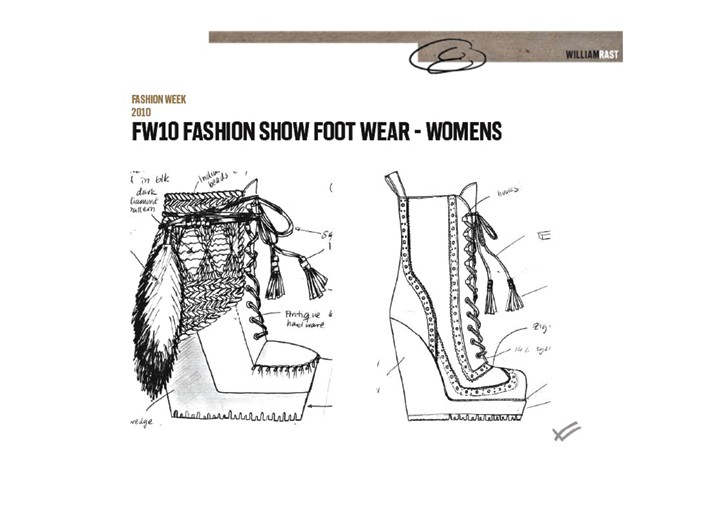 A sketch of William Rast footwear.