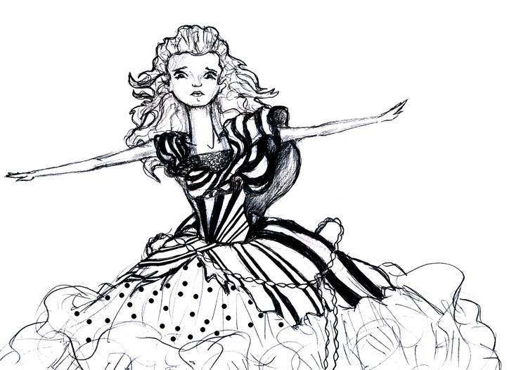 Alice in Wonderland. Costume sketch Alice red court dress.
